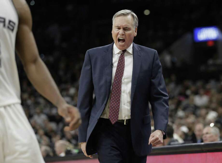 Houston Rockets oach Mike D'Antoni reacts to a call during the second half against the Spurs in Game 1 on May 1, 2017, in San Antonio. Photo: Eric Gay /Associated Press / Copyright 2017 The Associated Press. All rights reserved.