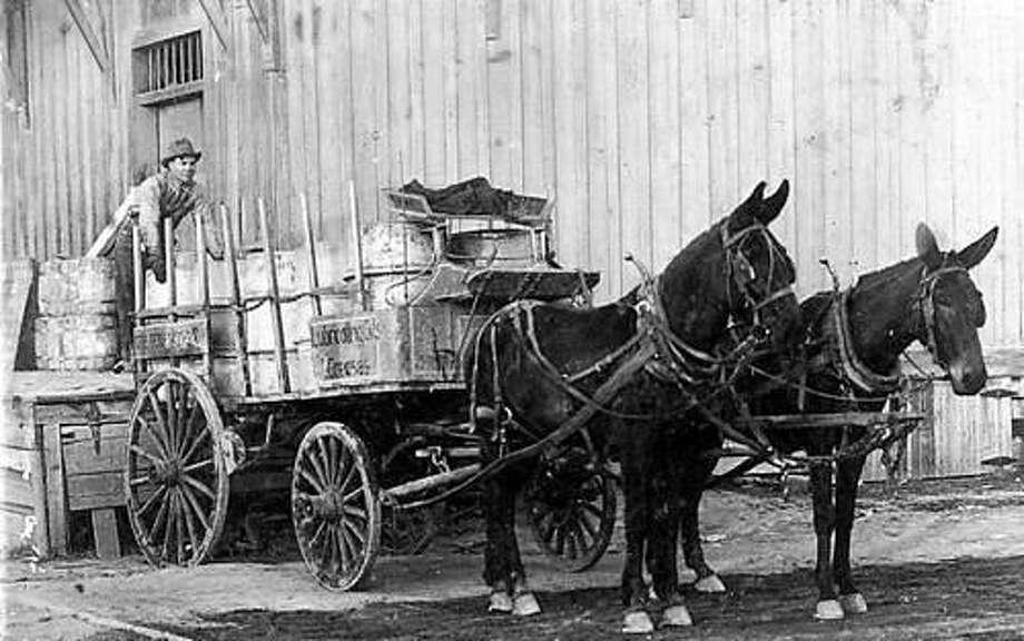 Humble Oil Company wagon at a railroad depot in San Antonio. Photo: Courtesy Texas Transportation Museum