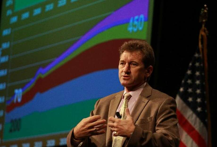 Scott Tinker, director of the Bureau of Economic Geology at the University of Texas, spoke at the Southwest section, American Association of Petroleum Geologists' annual convention this week at the Horseshoe. Photo: Houston Chronicle