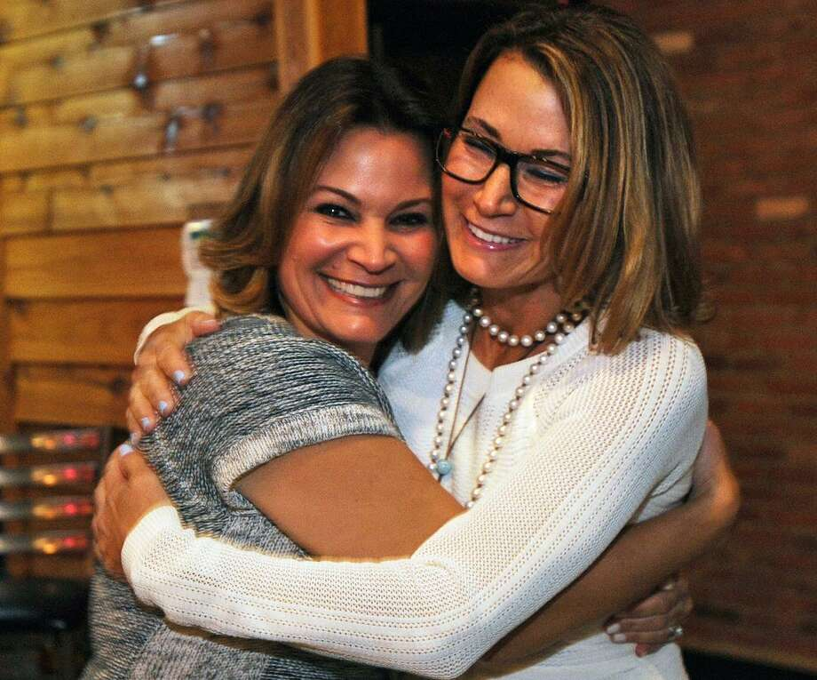 Republican Nicole Klarides-Ditria, left, is hugged by her sister, State House Minority Leader Themis Klarides, after winning the race for House District 105 in November 2016. Photo: Brian A. Pounds / Hearst Connecticut Media / Connecticut Post