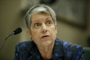 University of California president Janet Napolitano during a joint legislative oversight hearing on Tuesday, May 2, 2017, at the California State Capitol in Sacramento, Calif. A state audit found the Napolitano's office collected at least $175 million in secret reserve funds.