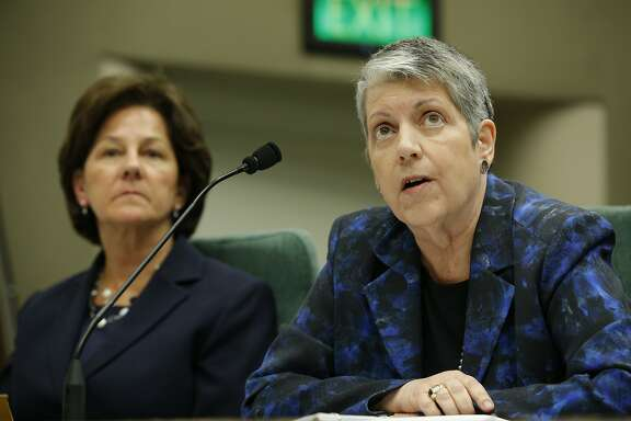 From right: University of California president Janet Napolitano and UC Board of Regents president Monica Lozano during a joint legislative oversight hearing on Tuesday, May 2, 2017, at the California State Capitol in Sacramento, Calif. A state audit found the Napolitano's office collected at least $175 million in secret reserve funds.
