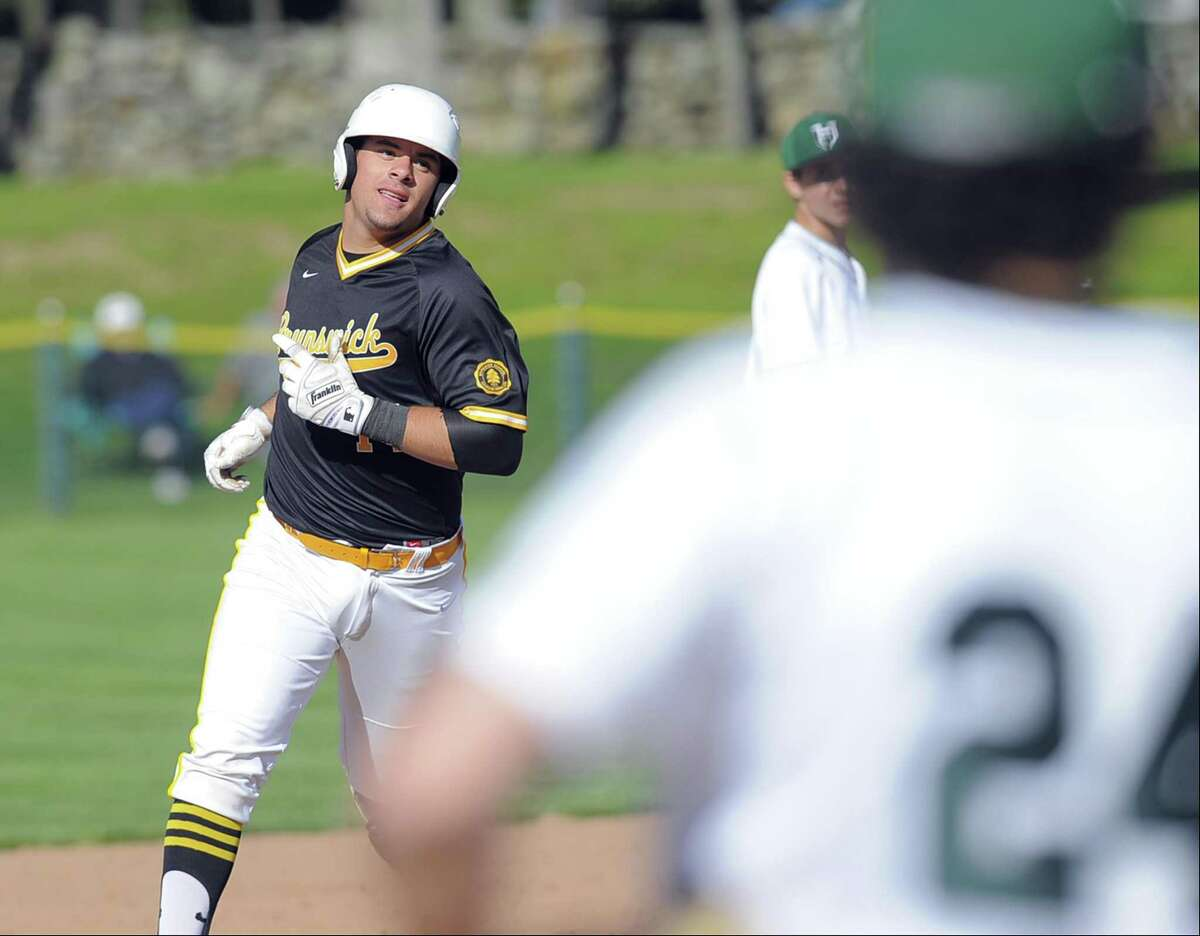 Brunswick Aaron Sabato rounds the bases following his second two-run homerun of the game, coming in the fourth inning against Hamden Hall, in a boys varsity baseball game at Brunswick School in Greenwich, Conn. on May 2, 2017.