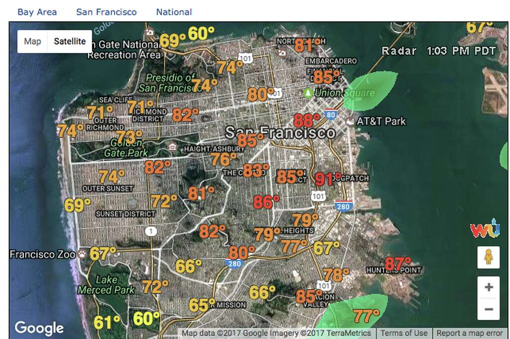 SFGATEWeather Underground microclimate map San Francisco temperature