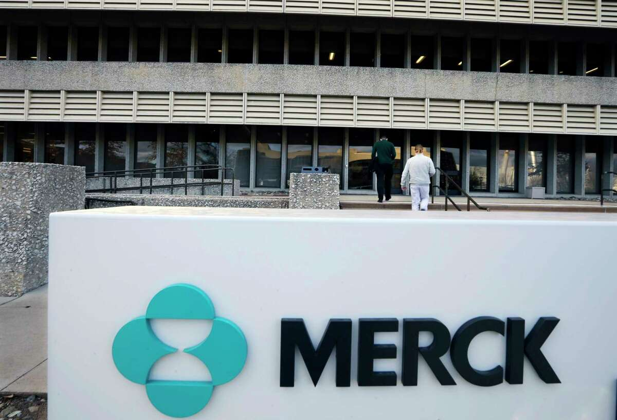 FILE - This Thursday, Dec. 18, 2014, file photograph, shows a sign at the Merck company facilities in Kenilworth, N.J. Merck & Company, Inc. reports earnings, Tuesday, May 2, 2017. (AP Photo/Mel Evans, File) ORG XMIT: NYBZ210
