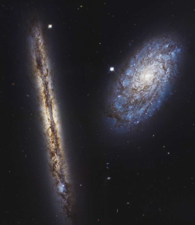 The edge-on galaxy is called NGC 4302, and the tilted galaxy is NGC 4298. Although the pinwheel galaxies look quite different because they are angled at different positions on the sky, they are actually very similar in terms of their structure and contents. Photo: NASA, ESA, And M. Mutchler (STScI)