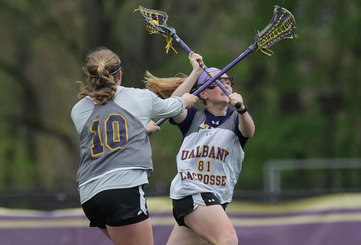 UAlbany women's lacrosse player Sarah Martin takes a shot on goal during practice on Tuesday, May 2, 2017, in Albany, N.Y. Martin is a nominee for the Tewaaraton Award. (Paul Buckowski / Times Union)