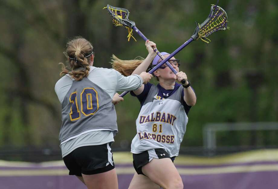 UAlbany women's lacrosse player Sarah Martin takes a shot on goal during practice on Tuesday, May 2, 2017, in Albany, N.Y.  Martin is a nominee for the Tewaaraton Award.   (Paul Buckowski / Times Union) Photo: PAUL BUCKOWSKI / 40040395A