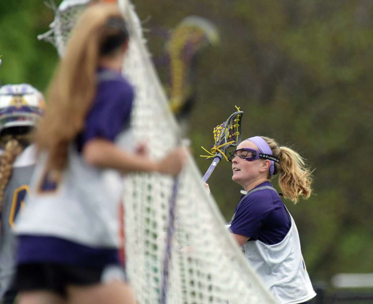 UAlbany women's lacrosse player Sarah Martin brings the ball around the cage during practice on Tuesday, May 2, 2017, in Albany, N.Y. Martin is a nominee for the Tewaaraton Award. (Paul Buckowski / Times Union)