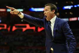 LOS ANGELES, CA - APRIL 30:  Head Coach Quin Snyder of the Utah Jazz motions during the first half of Game Seven of the Western Conference Quarterfinals against the Los Angeles Clippers at Staples Center at Staples Center on April 30, 2017 in Los Angeles, California.  NOTE TO USER: User expressly acknowledges and agrees that, by downloading and or using this photograph, User is consenting to the terms and conditions of the Getty Images License Agreement.  (Photo by Sean M. Haffey/Getty Images)