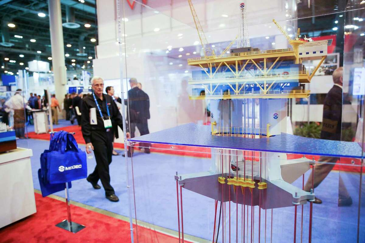 A model of a Modec rig at the Offshore Technology Conference at NRG Center Tuesday, May 2, 2017 in Houston.