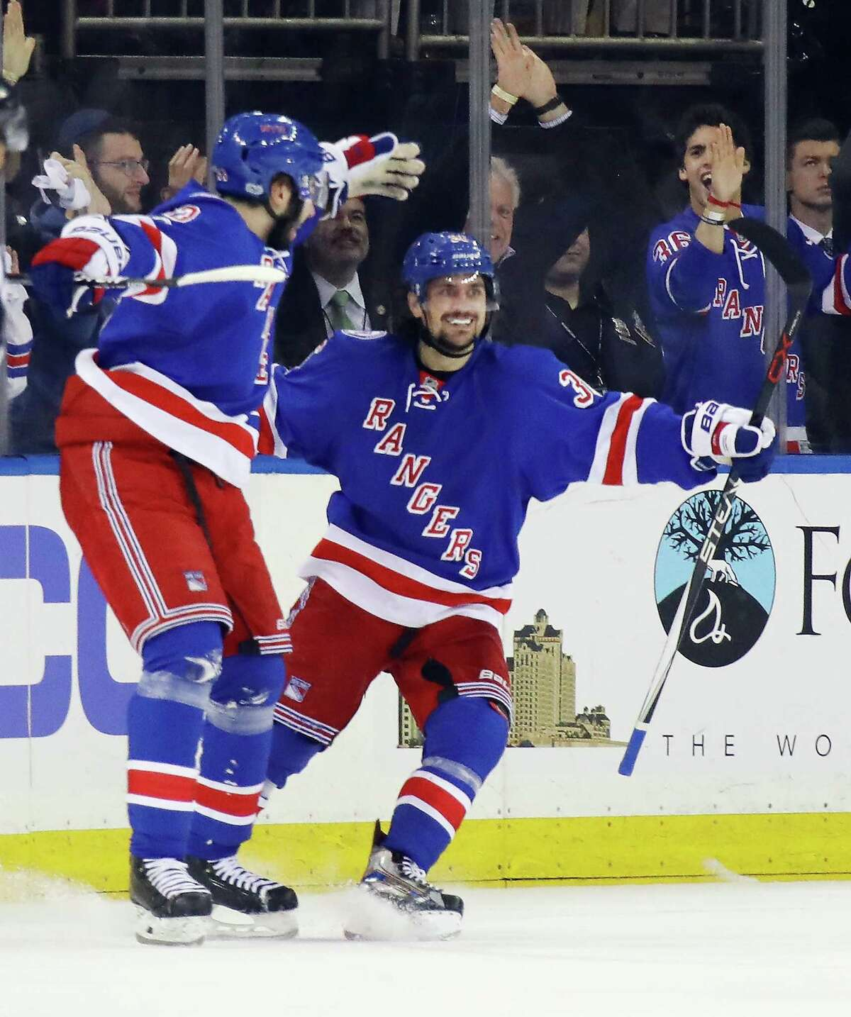 NEW YORK, NY - MAY 02: Mats Zuccarello #36 of the New York Rangers celebrates his first period goal against the Ottawa Senators in Game Three of the Eastern Conference Second Round during the 2017 NHL Stanley Cup Playoffs at Madison Square Garden on May 2, 2017 in New York City. The Rangers defeated the Senators 4-1. (Photo by Bruce Bennett/Getty Images) ORG XMIT: 700039434