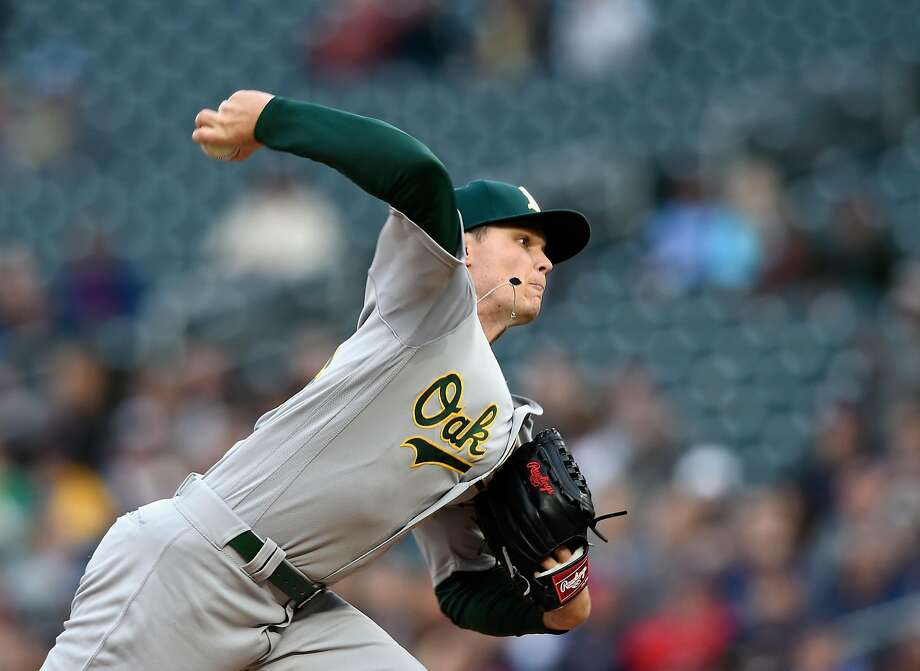 Sonny Gray #54 of the Oakland Athletics delivers a pitch against the Minnesota Twins during the first inning of the game on May 2, 2017 at Target Field in Minneapolis, Minnesota. Photo: Hannah Foslien, Getty Images