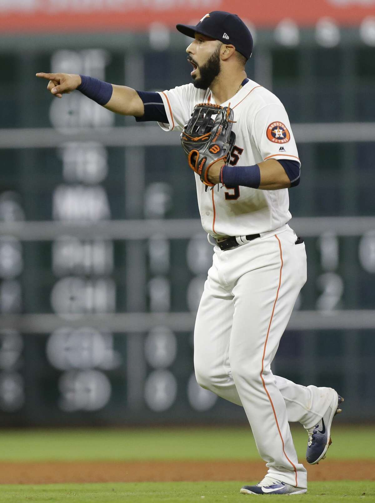 Houston Astros Marwin Gonzalez celebrates win over the Texas Rangers at Minute Maid Park Tuesday, May 2, 2017, in Houston. ( Melissa Phillip / Houston Chronicle )