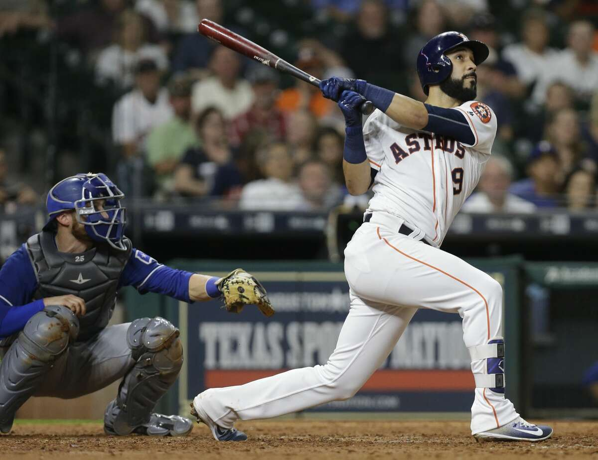 Houston Astros Marwin Gonzalez hits a grand slam against the Texas Rangers during the eighth inning at Minute Maid Park Tuesday, May 2, 2017, in Houston. Carlos Beltran, Jose Altuve, and Evan Gattis scored on the home run. ( Melissa Phillip / Houston Chronicle )
