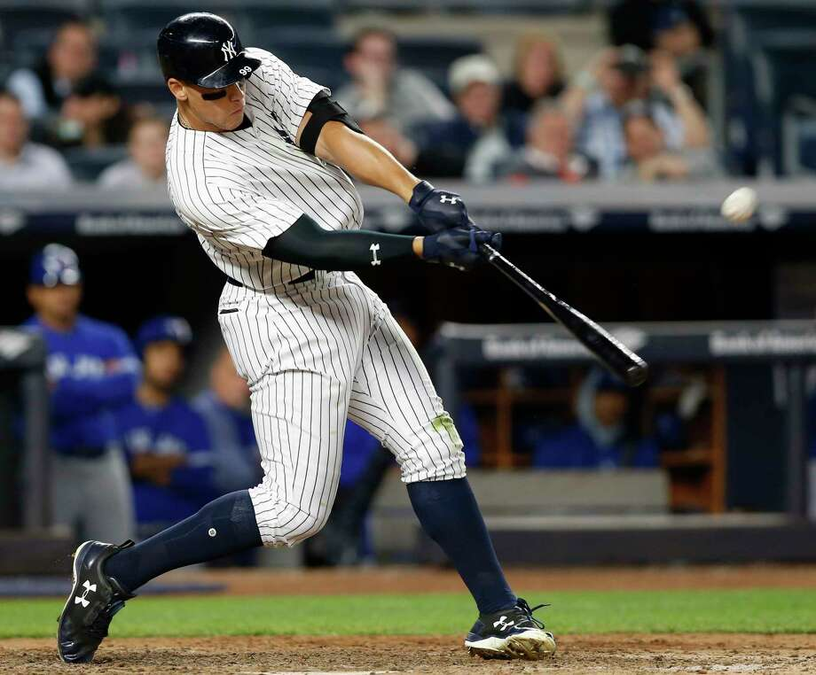 New York Yankees' Aaron Judge hits a three-run home run off Toronto Blue Jays relief pitcher Jason Grilli during the seventh inning of a baseball game in New York, Tuesday, May 2, 2017. It was Judge's second home run in the game. (AP Photo/Kathy Willens) ORG XMIT: NYY121 Photo: Kathy Willens / Copyright 2017 The Associated Press. All rights reserved.