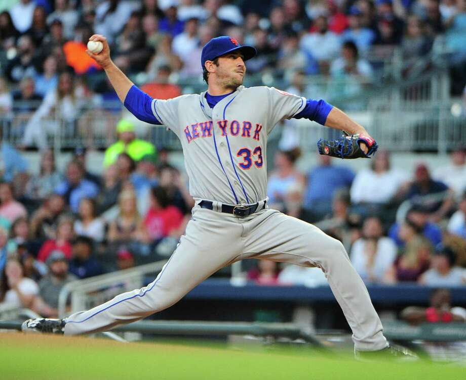ATLANTA, GA - MAY 2: Matt Harvey #33 of the New York Mets throws a first-inning pitch against the Atlanta Braves at SunTrust Park on May 2, 2017 in Atlanta, Georgia. (Photo by Scott Cunningham/Getty Images) ORG XMIT: 700010633 Photo: Scott Cunningham / 2017 Getty Images