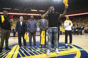 """The """"We Believe"""" team was honored during Game 1 of the Western Conference Semifinals 2017 NBA Playoffs at Oracle Arena on Tuesday, May 2, 2017 in Oakland, Calif."""