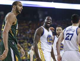 Golden State Warriors' Draymond Green reacts after Utah Jazz' Rudy Gobert lost the ball on a turnover in the first quarter during Game 1 of the Western Conference Semifinals 2017 NBA Playoffs at Oracle Arena on Tuesday, May 2, 2017 in Oakland, Calif.