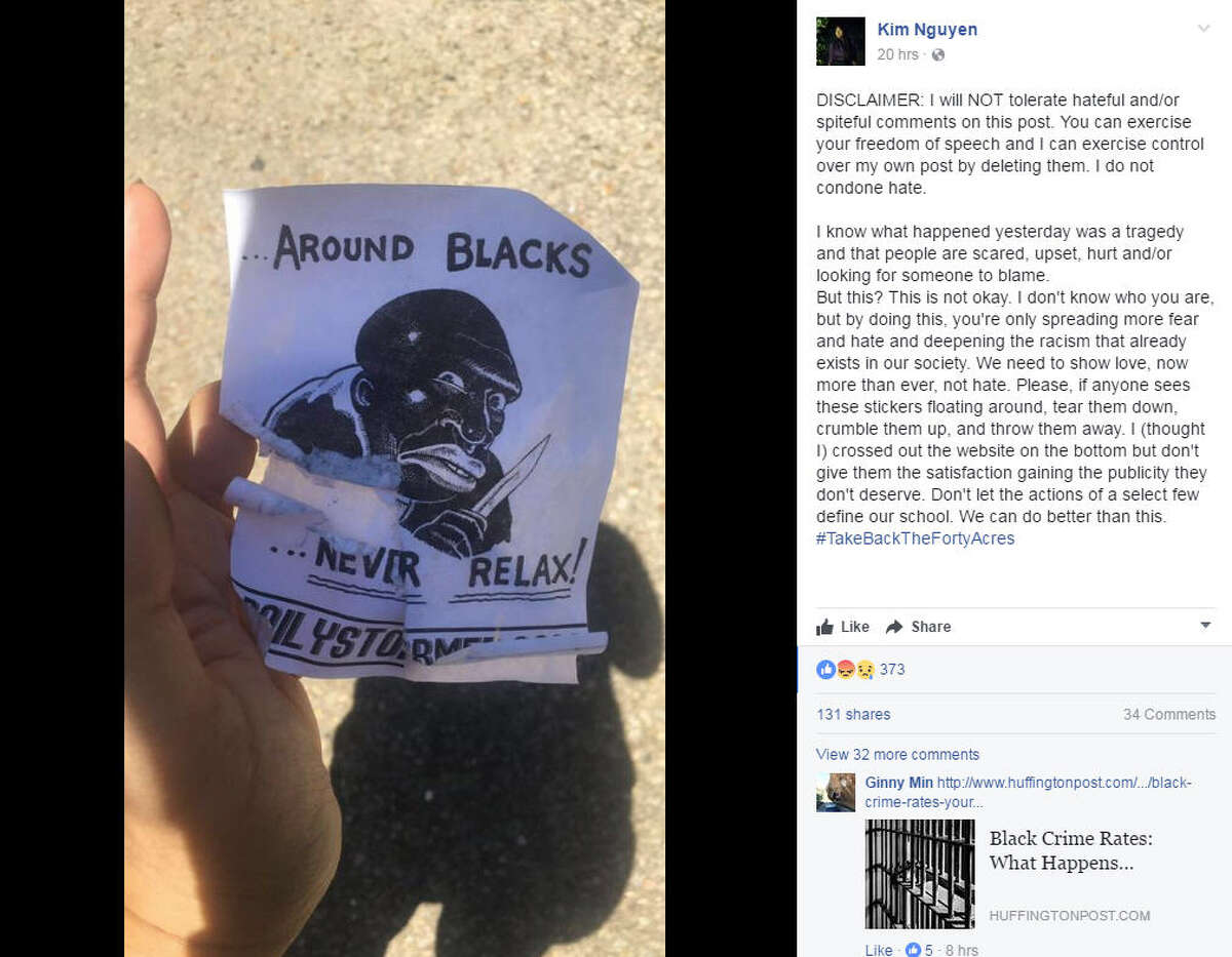 Racist flyers were posted all over the University of Texas campus on Tuesday, May 2, just one day after a tragic stabbing that left one dead and three injured. Photo: Kim Nguyen Facebook