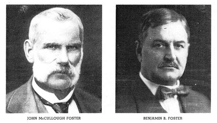 Saw mill owners John McCullough Foster and Benjamin Butler Foster. The Foster family is credited with founding the Foster Lumber Co. locally and the town Fostoria grew up around it from 1900 to 1957 in East Montgomery County.