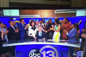 Colleagues, family and friends congratulate longstanding KTRK Channel 13 news anchor Dave Ward, who officially signed off for the final time on Tuesday, May 2, during Eyewitness News at 6 pm.