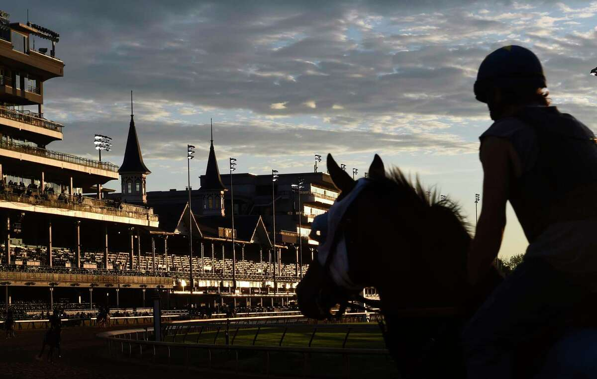 Horses get their exercise on a beautiful morning at Churchill Downs, the home of the Kentucky Derby Wednesday May 3, 2017 in Louisville, Kentucky. The 143rd running of the Kentucky Derby will run Saturday May 6th. (Skip Dickstein/Times Union)