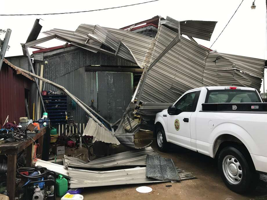 Carports blown down by possible tornado near City Hall in Kountze.