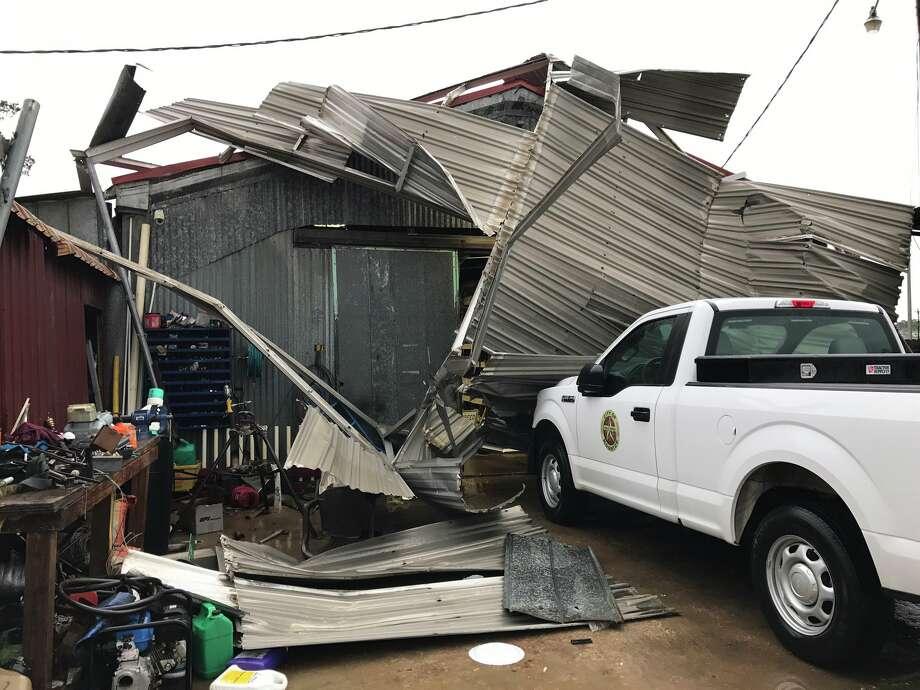 Carports blown down by possible tornado near City Hall in Kountze.