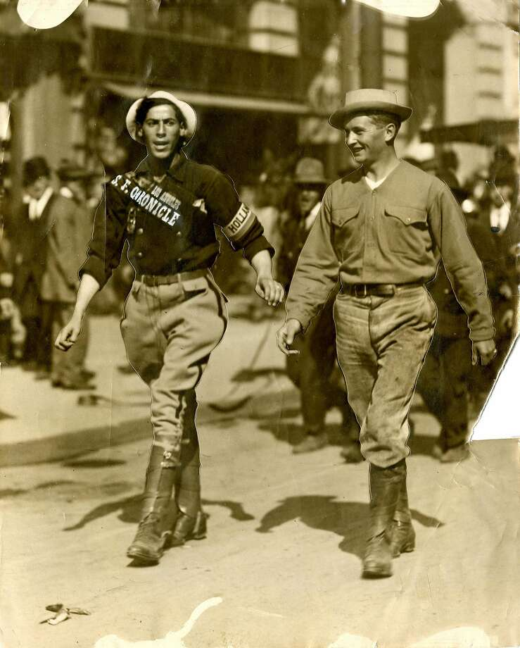Godfrey Road, the San Francisco Chronicle globetrotter, and his manager in 1910. Godfrey walked from San Francisco to Los Angeles in 8 days, eating only bread and water. Photo: Chronicle Archives
