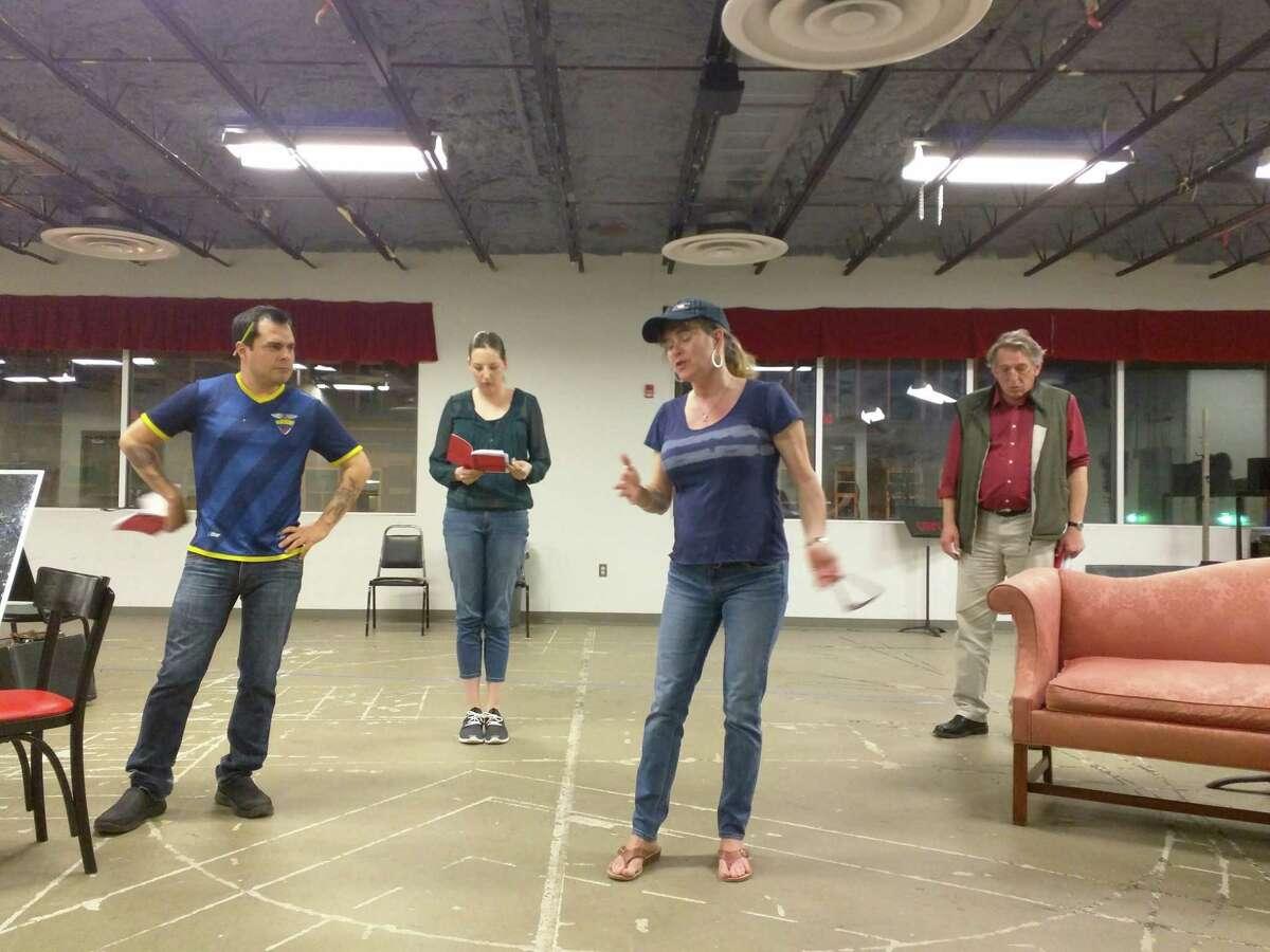 Rehearsal1 photo taken by Sandi Rhodes. From left: Roy Angelo Ruiz, Bridget Dunigan, Lisa Green, and Otto Meyers.