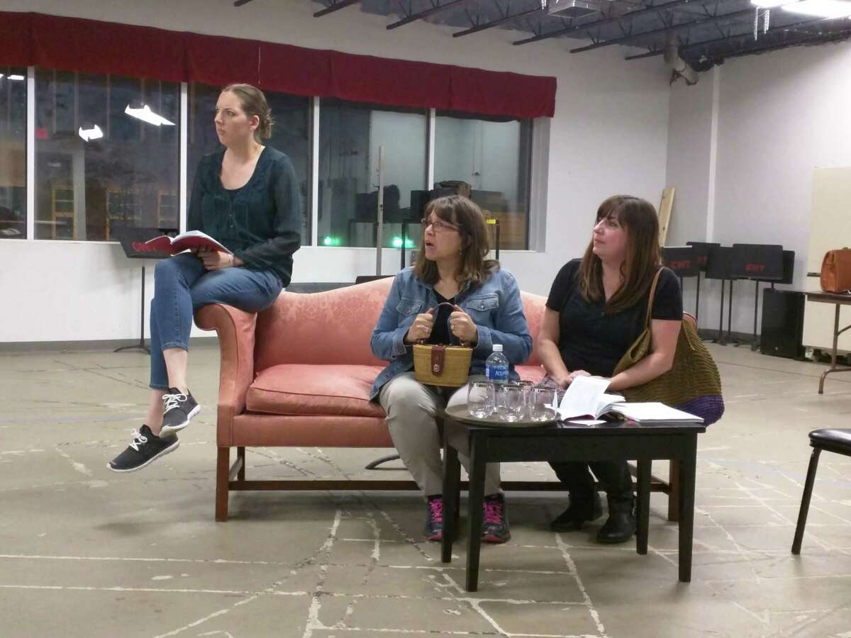 Tomatoes_Rehearsal2 photo taken by Sandi Rhodes. From left: Bridget Dunigan, Noreen Szmul, and Tina Masercola Hayes.