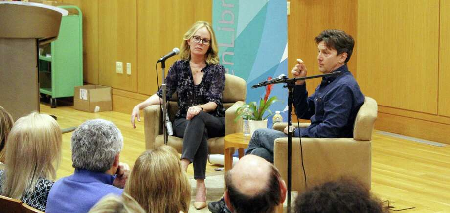 Author Dani Shapiro (left) and author/actor Andrew McCarthy during an author talk in Darien, CT on May 1, 2017 Photo: Darien News / Contributed Photo / Darien News