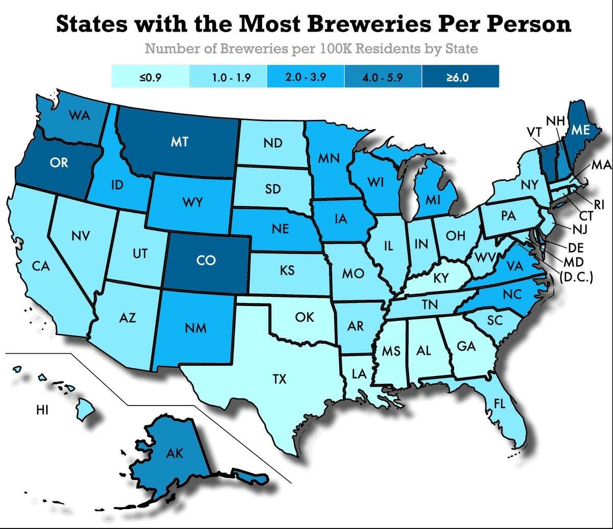 Breweries per capita in each state.