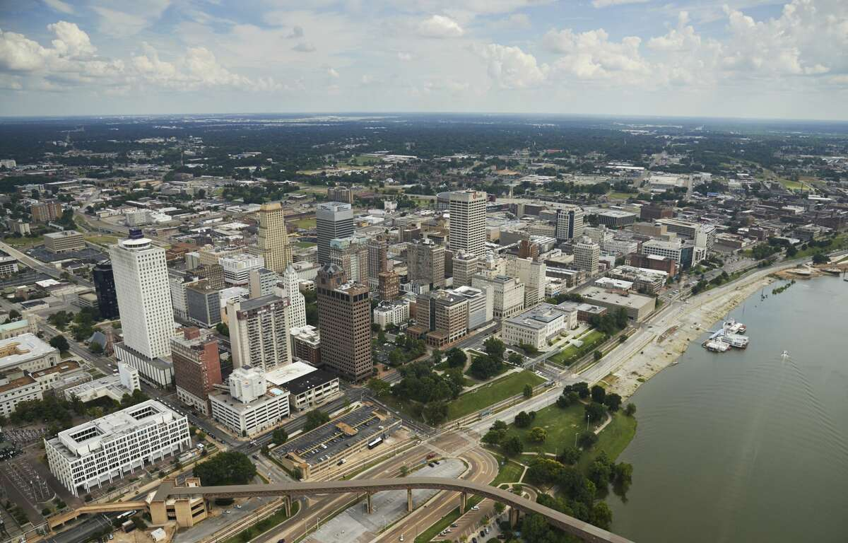 Aerial of downtown Memphis, Tennessee and the Mississippi River.