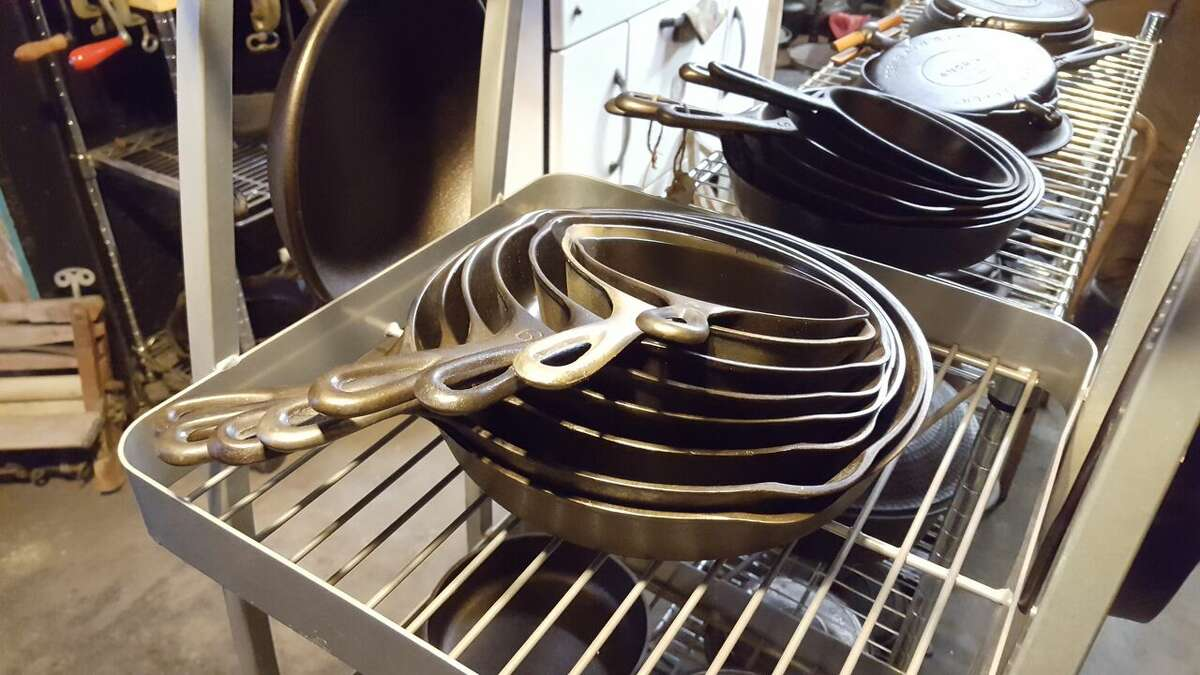 Don't lose hope for the old cast iron skillet. See below for tips on how to season it. Click through the slideshow for more tips that will make your life easier. Cast iron skillets that make up part of Bobby Bulger's 600-piece collection. (Deanna Fox/For the Times Union)