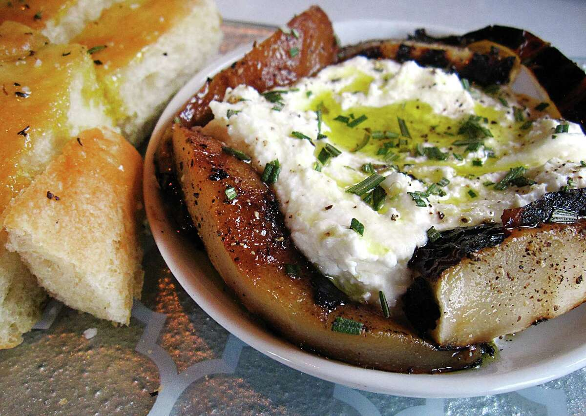 Housemade ricotta with grilled pears at Battalion.