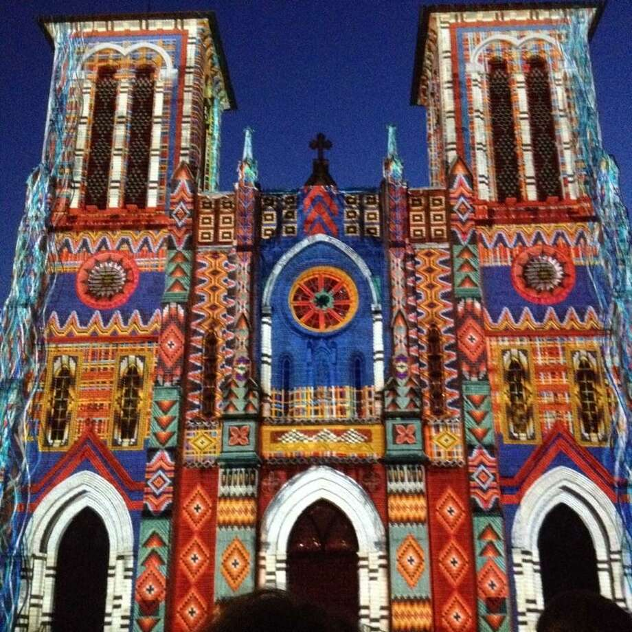"A photo of the downtown art installment ""The Saga"" projected on San Fernando Cathedral. Photo: Ellen Riojas Clark / For The Express-News"