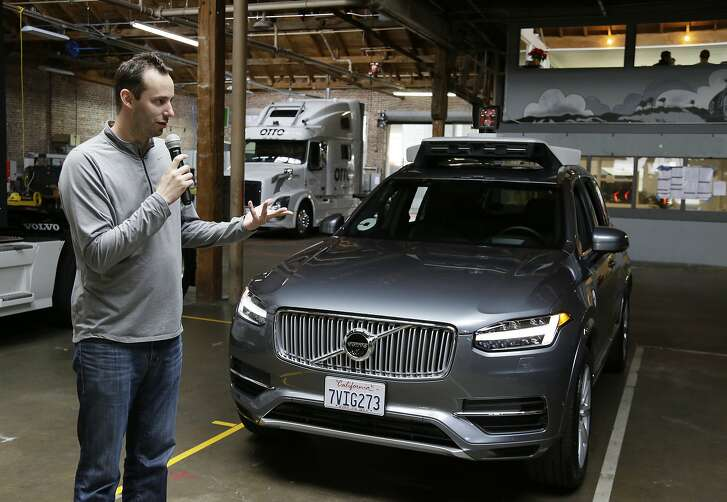 FILE- In this Dec. 13, 2016, file photo, Anthony Levandowski, head of Uber's self-driving program, speaks about their driverless car in San Francisco. Levandowski, an autonomous vehicle expert who defected from Google last year, notified Uber�s staff of that he is stepping aside Thursday, April 27, 2017, in an email. He will remain at Uber, but won�t oversee a crucial self-driving project targeted in lawsuit filed by Waymo, a rival started by Google. (AP Photo/Eric Risberg, File)