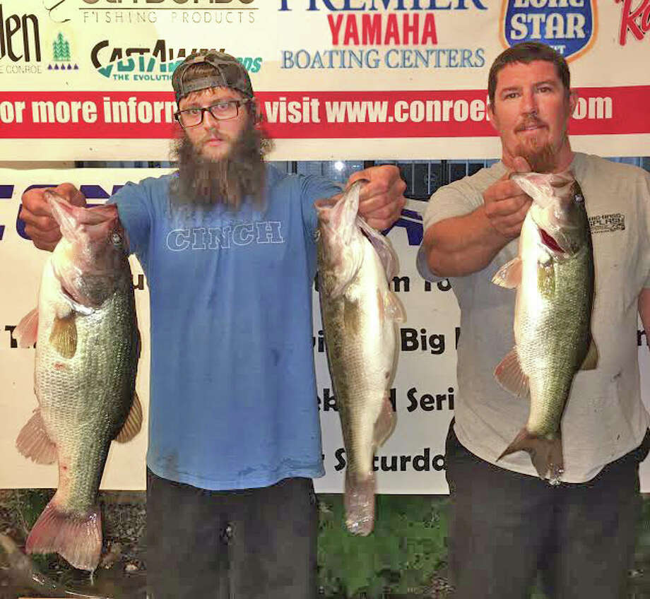 Brett Gage and Grant Rodgers came in first place in the CONROEBASS Tuesday Night Tournament with a weight of 15.18 pounds. Photo: Submitted Photo