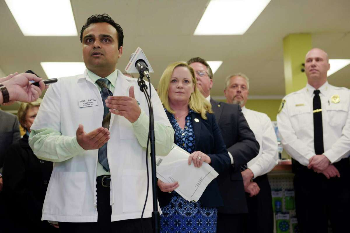 Jay Patel, supervising pharmacist at Crestwood Pharmacy, talks about Albany County's Project Orange during a press conference at Crestwood Pharmacy on Tuesday, May 3, 2017, in Albany, N.Y. The project is designed to give people a way to turn in unused opioids. (Paul Buckowski / Times Union)