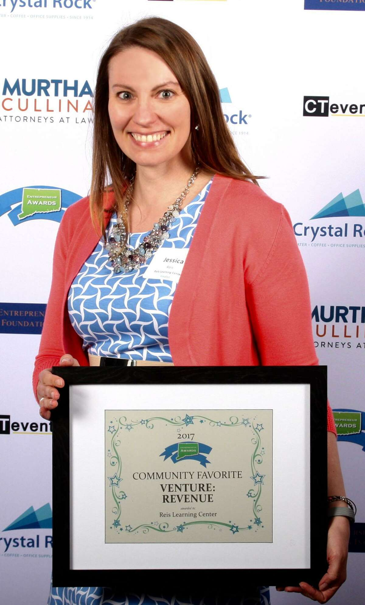Jessica Reis, owner of Reis Learning Center in New Milford, was recently presented an award for best revenue-generating venture at the inaugural Connecticut Entrepreneur Awards.