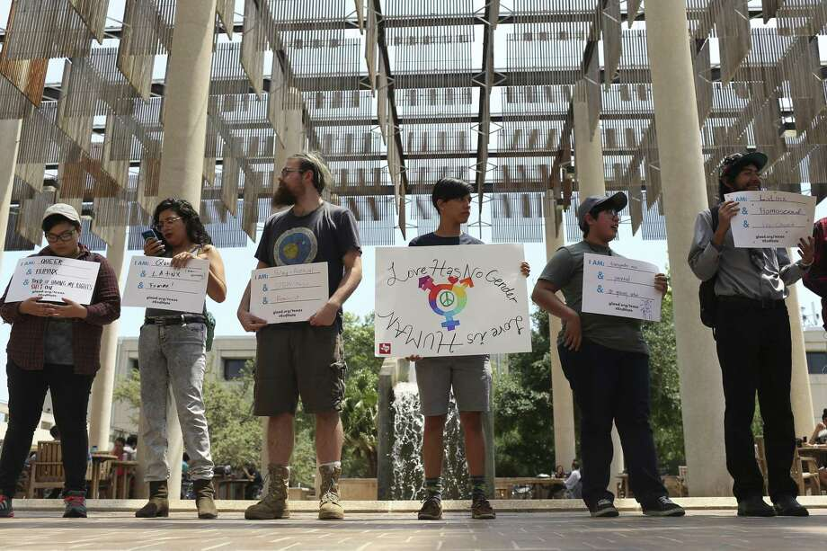 "Supporters gather for the Texas Students Against Hate rally at the University of Texas at San Antonio main campus, Tuesday, April 25, 2017. The Texas Freedom Network's young adult group, called Texas Rising, has partnered with several state and national nonprofits to start a petition and host rallies that protest bills like SB6 and HB2899, both known as the ""bathroom bill."" Rallies were held at university campuses throughout the state. Photo: JERRY LARA / San Antonio Express-News / © 2017 San Antonio Express-News"