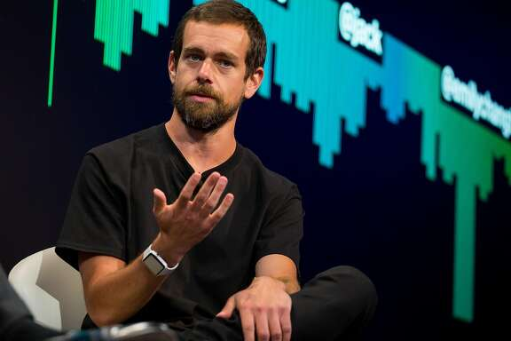 Jack Dorsey, co-founder and chief executive officer of Twitter Inc., speaks during an interview in New York, U.S., on Monday, May 1, 2017. Twitter announced a partnership with Bloomberg LP to deliver 24/7 live streaming news program. Photographer: Michael Nagle/Bloomberg
