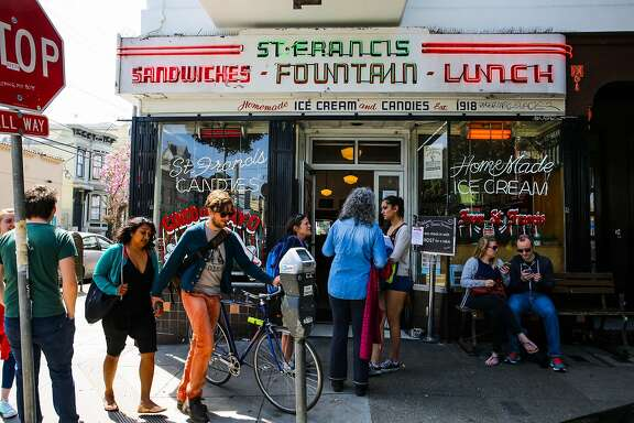People wait to be seated outside brunch spot St. Francis Fountain in San Francisco, California, on Sunday, April 23, 2017.