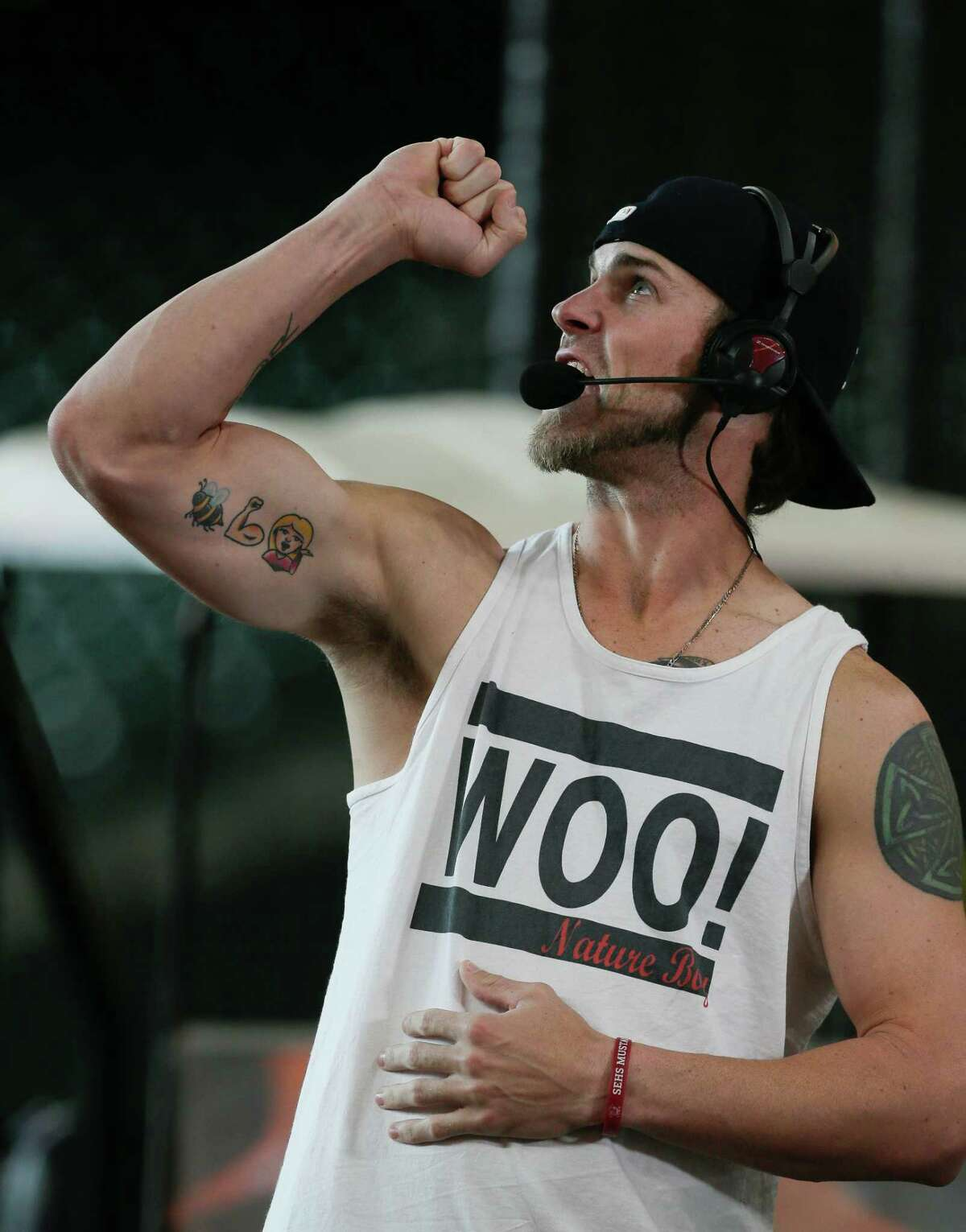 HOUSTON, TX - APRIL 18: Josh Reddick #22 of the Houston Astros speaks with the MLB Network and performs some of his best wrestling impersonations before a game against the Los Angeles Angels of Anaheim at Minute Maid Park on April 18, 2017 in Houston, Texas.