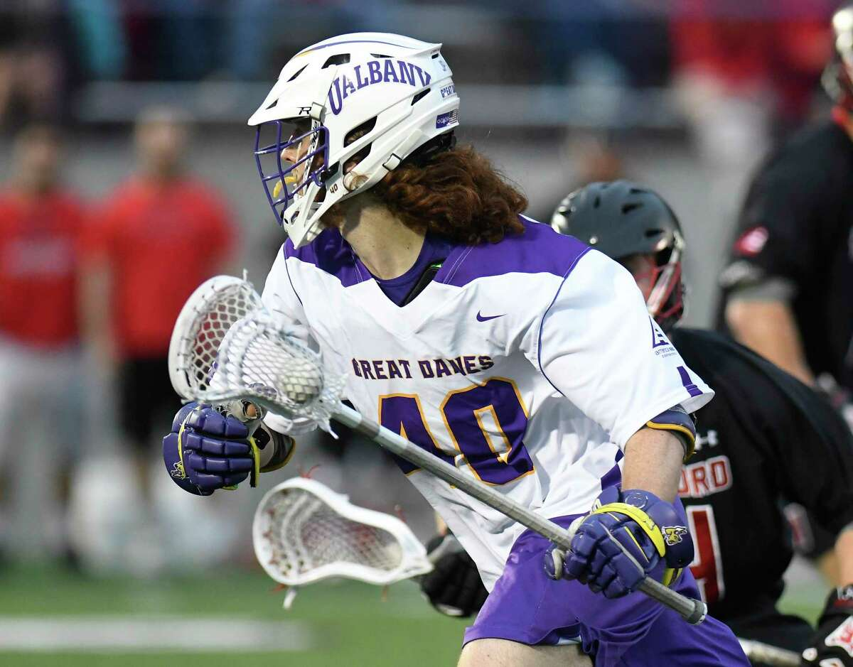UAlbany's Kyle McClancy (40) moves the ball against Hartford during a NCAA Division I college men's lacrosse game on Saturday, April 29, 2017, in Albany, N.Y. (Hans Pennink / Special to the Times Union) ORG XMIT: HP110
