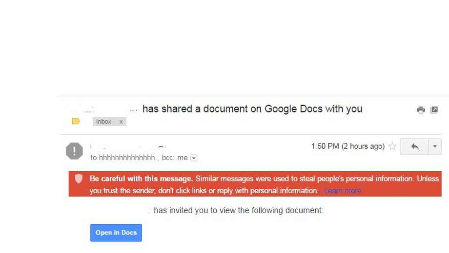 Hackers sent emails asking users to open files in Google Docs to get access to Gmail accounts Wednesday.