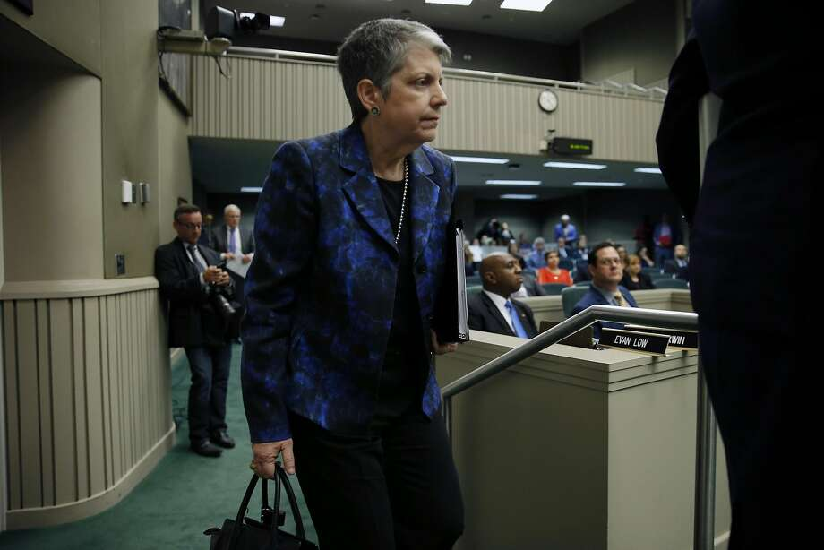 University of California president Janet Napolitano during a joint legislative oversight hearing on Tuesday, May 2, 2017, at the California State Capitol in Sacramento, Calif. A state audit found the Napolitano's office collected at least $175 million in secret reserve funds. Photo: Santiago Mejia, The Chronicle