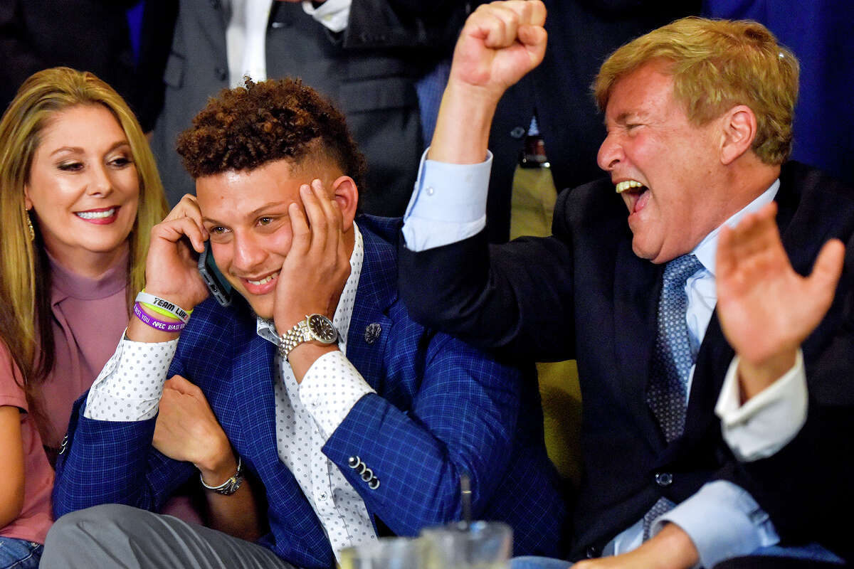 Texas Tech quarterback Patrick Mahomes, second from left, was the only Big 12 player selected in the first round of last week's NFL draft.